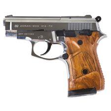 Gas pistol Atak Zoraki 914 Auto chrome, cal.9 mm, black gunstock